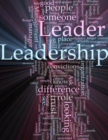 Word cloud concept illustration of leadership management glowing light effect Stock Illustration - 6474210
