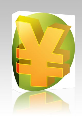 Software package box Japanese yen Currency symbol isometric illustration 3d illustration