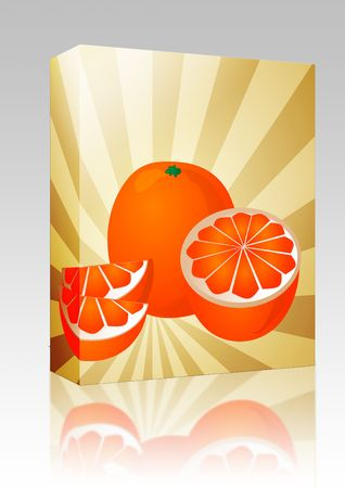 Software package box Orange fruit, whole, halved, and sliced into sections, illustration illustration