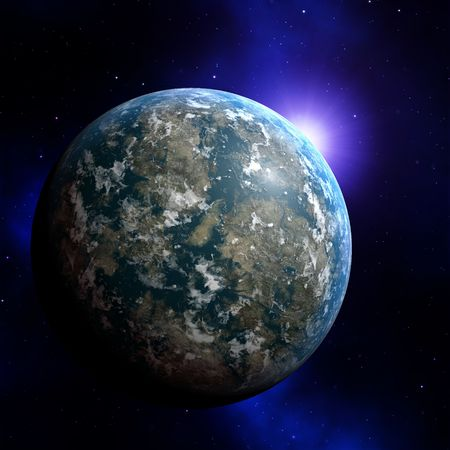 Illustration of planet earth on colored background illustration