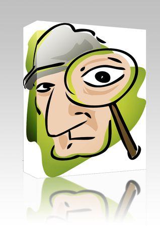 policia caricatura: Cuadro de paquete de software de ilustraci�n de dibujos animados del detective con lupa  Foto de archivo