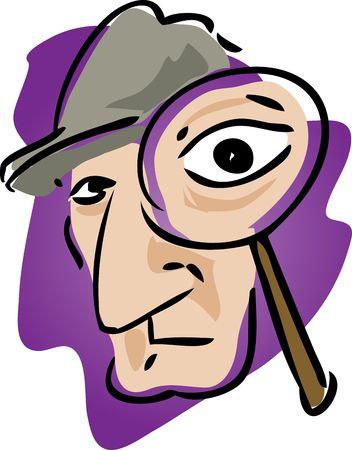 policia caricatura: Ilustraci�n de dibujos animados del detective con lupa Foto de archivo