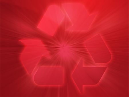 wastage: Recycling eco symbol illustration on abstract design Stock Photo