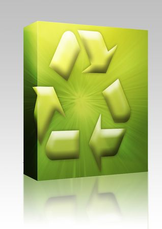 Software package box Recycling eco symbol illustration on abstract design illustration
