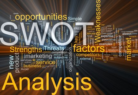 threat: Word cloud concept illustration of SWOT Analysis glowing light effect  Stock Photo