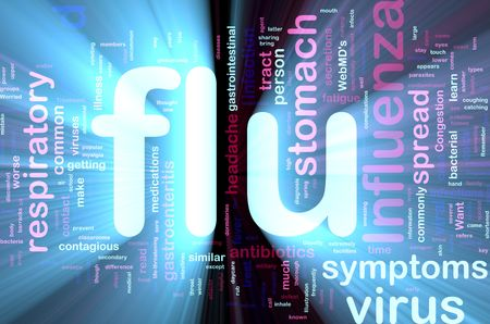 influenza: Word cloud concept illustration of  flu influenza glowing light effect  Stock Photo