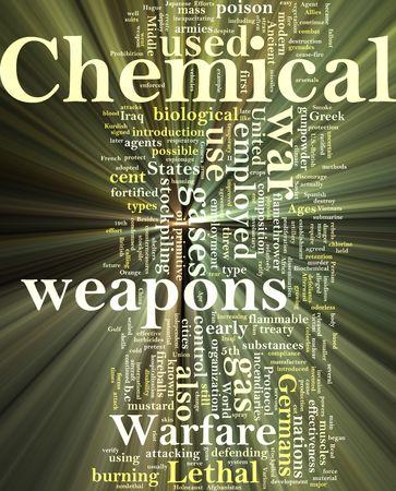 stockpiling: Efecto de luz resplandeciente de armas de la ilustraci�n de concepto de nube de Word de sustancia qu�mica  Foto de archivo