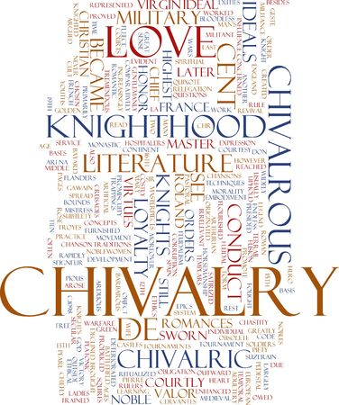 knighthood: Word cloud concept illustration of chivalry knighthood