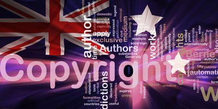 authorship: Flag of Australia, national country symbol illustration wavy fabric national copyright law