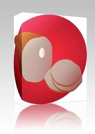 Software package box Leg of ham, sliced pork lunch meat,  illustration illustration