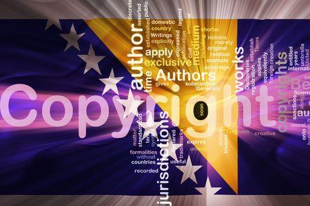 authorship: Flag of Bosnia Hertzigovina, national country symbol illustration wavy fabric national copyright law Stock Photo