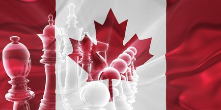 multinational: Flag of Canada, national country symbol illustration wavy fabric business competition strategy Stock Photo