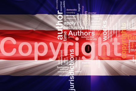 authorship: Flag of Costa Rica , national country symbol illustration wavy fabric national copyright law Stock Photo