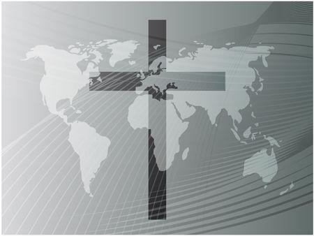 country church: Christian church cross, religious spiritual symbol illustration