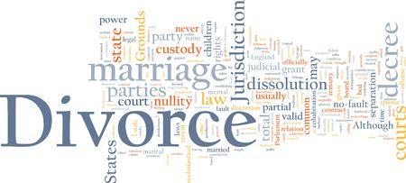 scheidung: Word-Cloud-Konzept-Illustration der Scheidung Ehe
