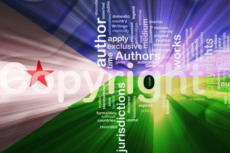 authorship: Flag of Djibouti , national country symbol illustration wavy fabric national copyright law Stock Photo