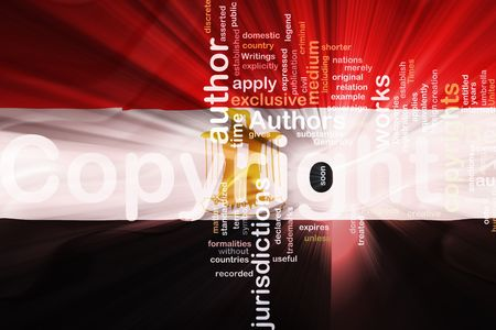 authorship: Flag of Egypt, national country symbol illustration wavy fabric national copyright law