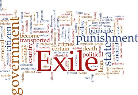 exile: Word cloud concept illustration of exile punishment