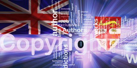 authorship: Flag of Fiji, national country symbol illustration wavy fabric national copyright law Stock Photo