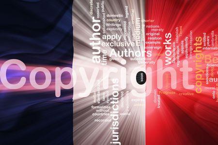 authorship: Flag of France, national country symbol illustration wavy fabric national copyright law Stock Photo