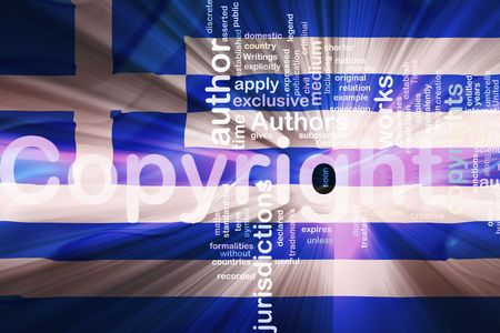 authorship: Flag of Greece, national country symbol illustration wavy fabric national copyright law