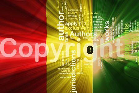 authorship: Flag of Guinea, national country symbol illustration wavy fabric national copyright law