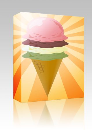 Software package box Ice cream cone illustration, three scoops on radial burst background Stock Illustration - 6527319