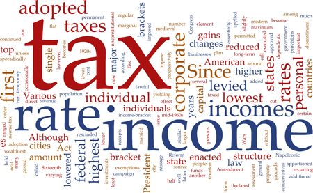 exemptions: Word cloud concept illustration of  income tax