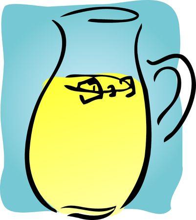 Pitcher of fresh lemonade, retro hand-drawn style photo