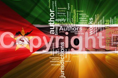 authorship: Flag of Mozambique, national country symbol illustration wavy fabric national copyright law