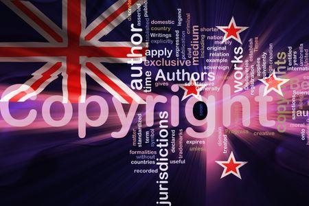 authorship: Flag of New Zealand, national country symbol illustration wavy fabric national copyright law