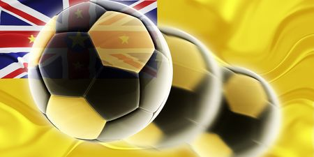 niue: Flag of Niue, national country symbol illustration wavy sports soccer football Stock Photo