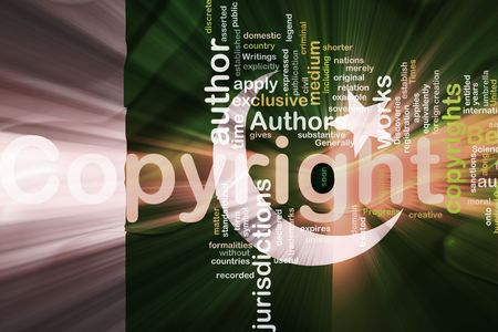 authorship: Flag of Pakistan, national country symbol illustration wavy fabric national copyright law