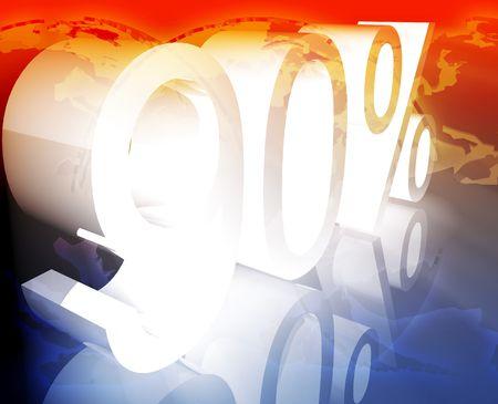 ninety: Ninety 90 percent discount sale price reduction promotion background
