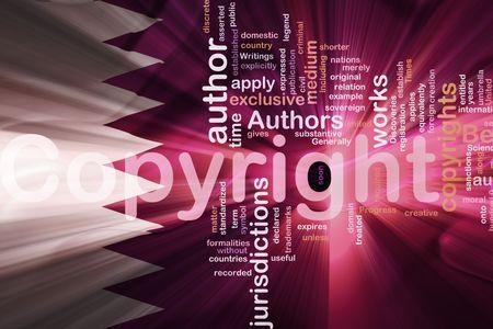 authorship: Flag of Qatar, national country symbol illustration wavy fabric national copyright law
