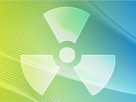 radium: Illustration of radiation hazard warning alert symbol
