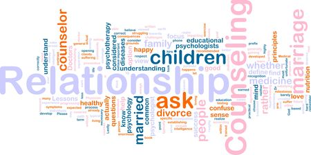 representations: Word cloud concept illustration of  relationship counseling