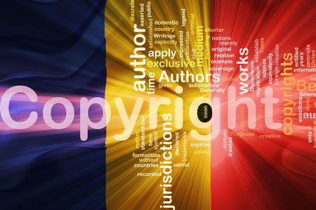 authorship: Flag of Romania, national country symbol illustration wavy fabric national copyright law Stock Photo