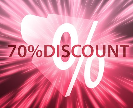 seventy: Il settanta per cento di sconto, illustrazione annuncio di promozione delle vendite al dettaglio  Archivio Fotografico