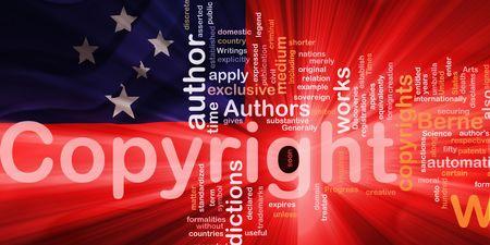 authorship: Flag of Samoa, national country symbol illustration wavy fabric national copyright law