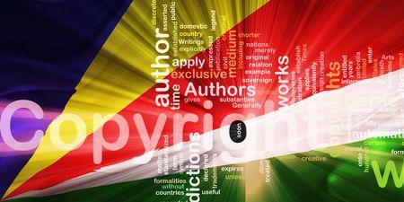 authorship: Flag of Seychelles, national country symbol illustration wavy fabric national copyright law