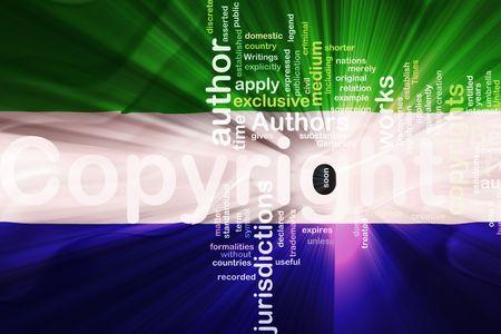 authorship: Flag of Sierra Leone, national country symbol illustration wavy fabric national copyright law