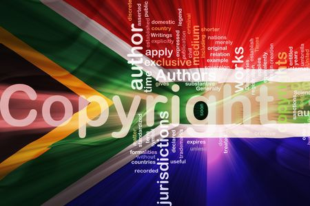 authorship: Flag of South Africa, national country symbol illustration wavy fabric national copyright law