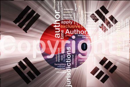 authorship: Flag of South Korea, national country symbol illustration wavy fabric national copyright law