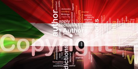 authorship: Flag of Sudan, national country symbol illustration wavy fabric national copyright law