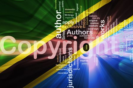 authorship: Flag of Tanzania, national country symbol illustration wavy fabric national copyright law