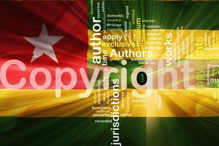 authorship: Flag of Togo, national country symbol illustration wavy fabric national copyright law Stock Photo