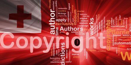 authorship: Flag of Tonga, national country symbol illustration wavy fabric national copyright law