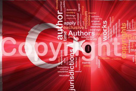 authorship: Flag of Turkey, national country symbol illustration wavy fabric national copyright law