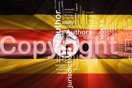 authorship: Flag of Uganda, national country symbol illustration wavy fabric national copyright law